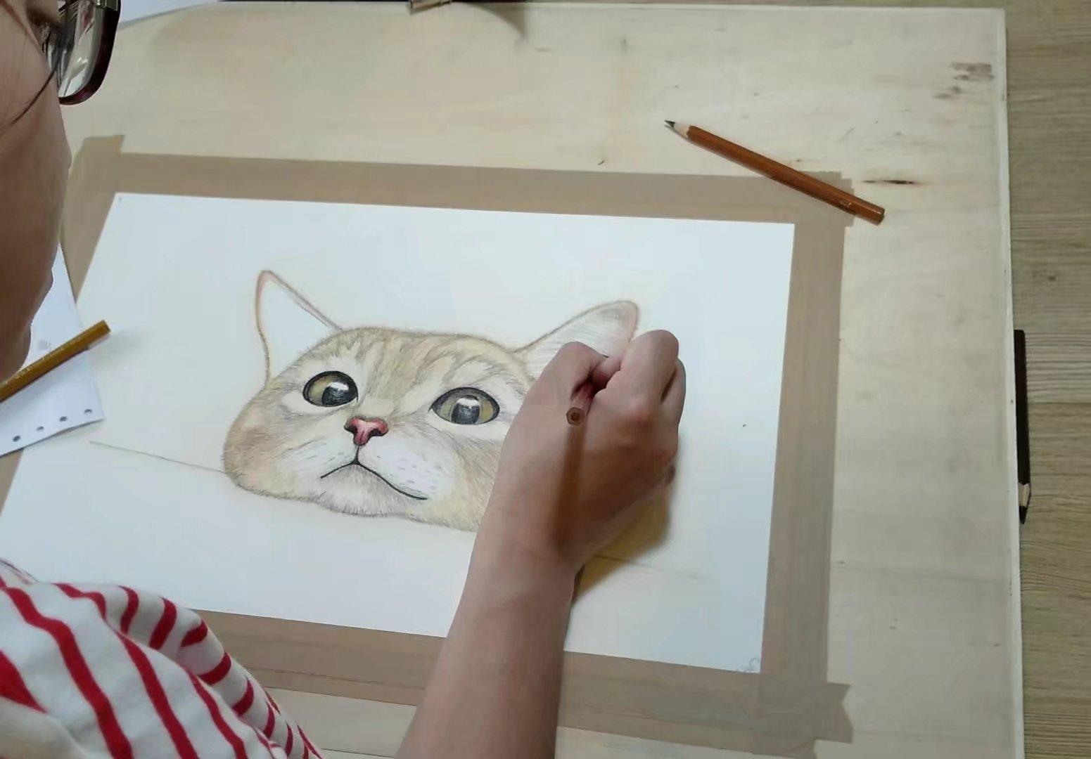 彩铅动物.她为好友画了幅喵咪,作为生日礼物.呆萌呆萌的喵更像她自己.